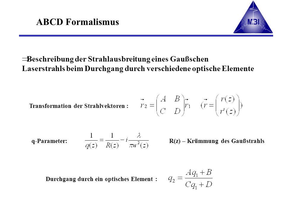 ABCD Formalismus Beschreibung der Strahlausbreitung eines Gaußschen