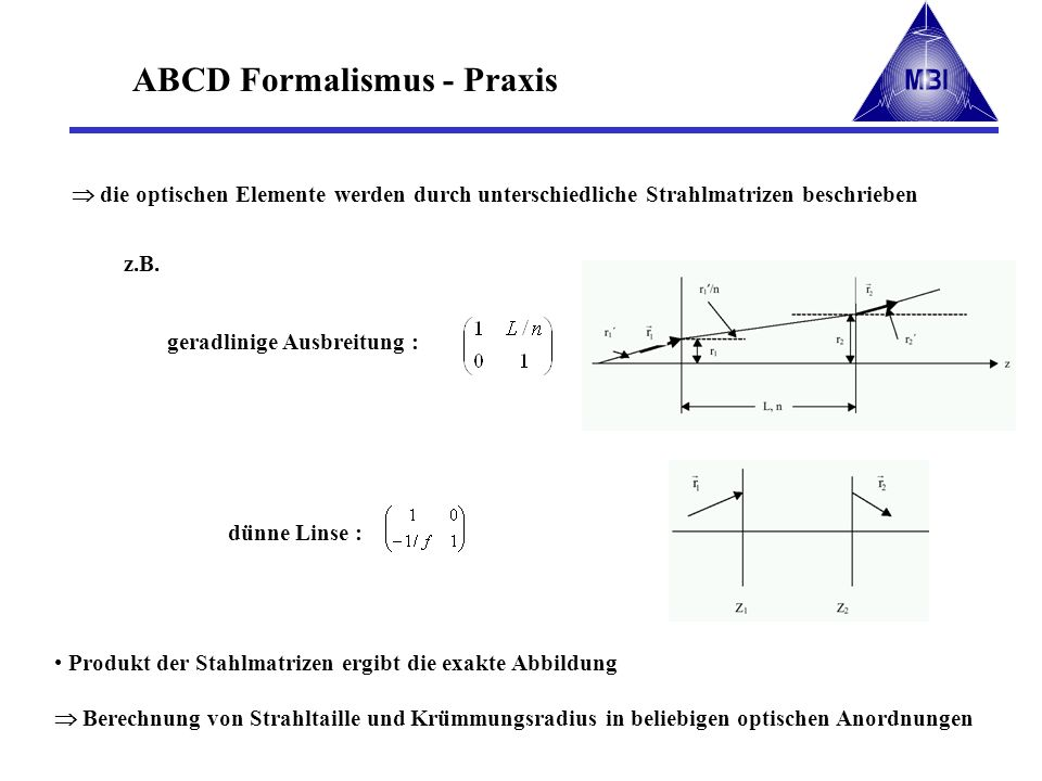 ABCD Formalismus - Praxis