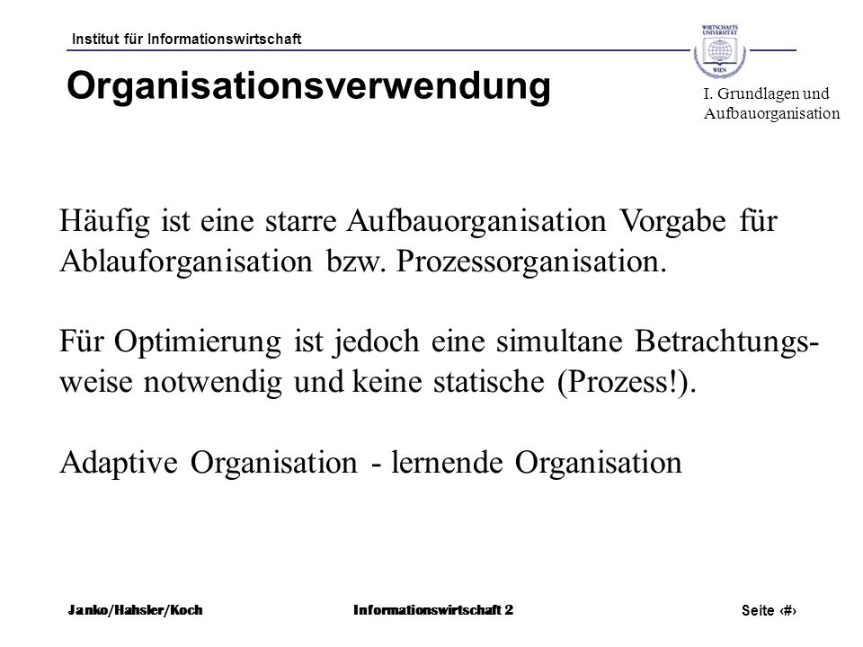 Organisationsverwendung