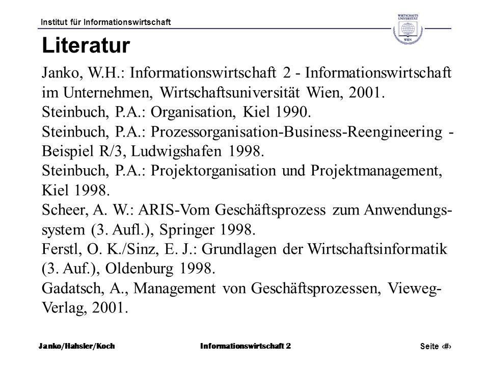 Literatur Janko, W.H.: Informationswirtschaft 2 - Informationswirtschaft im Unternehmen, Wirtschaftsuniversität Wien, 2001.