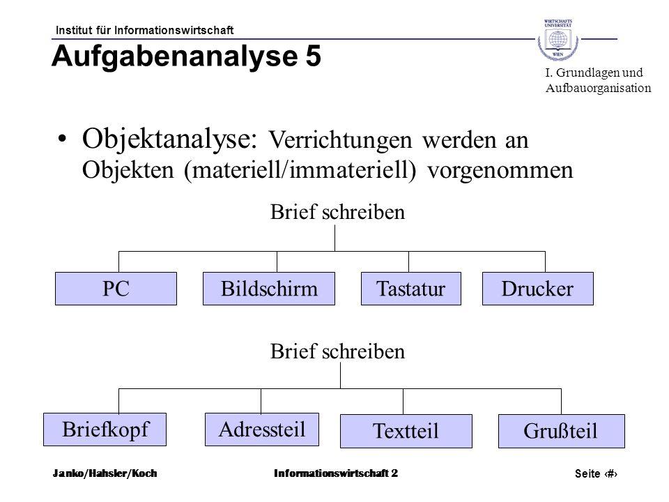 Aufgabenanalyse 5 I. Grundlagen und. Aufbauorganisation. Objektanalyse: Verrichtungen werden an Objekten (materiell/immateriell) vorgenommen.