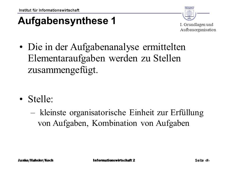 Aufgabensynthese 1 I. Grundlagen und. Aufbauorganisation.