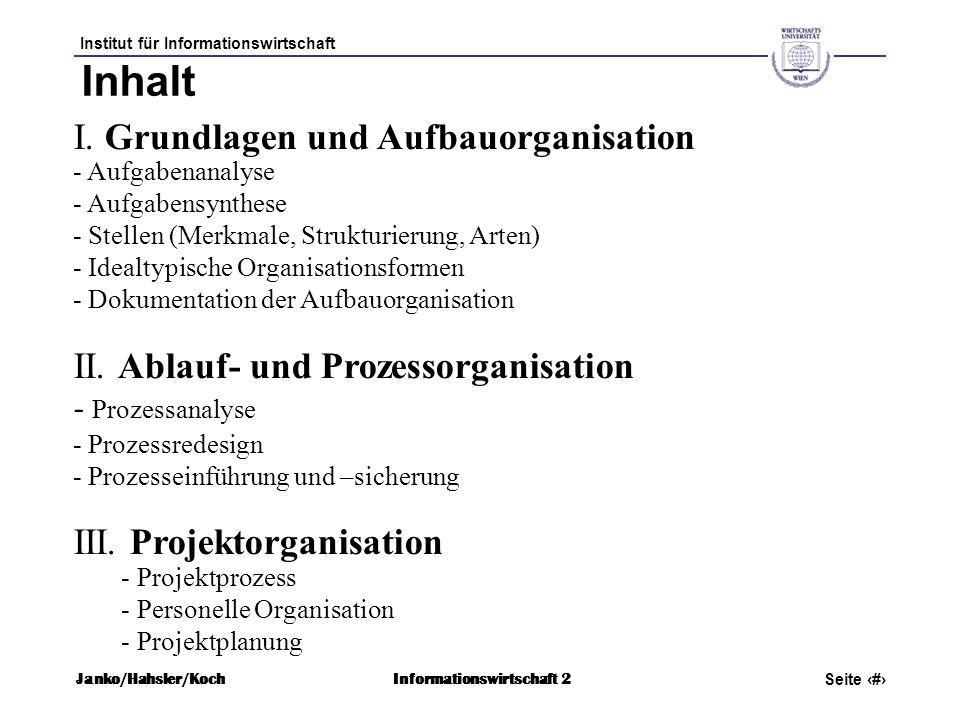 Inhalt I. Grundlagen und Aufbauorganisation