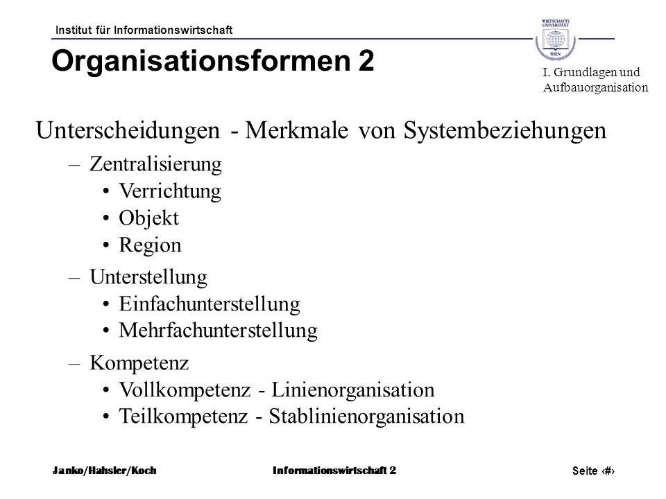 Organisationsformen 2 I. Grundlagen und. Aufbauorganisation. Unterscheidungen - Merkmale von Systembeziehungen.