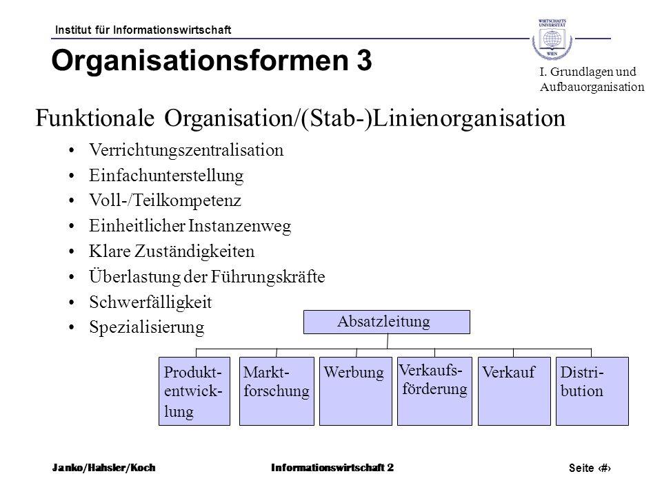 Organisationsformen 3 I. Grundlagen und. Aufbauorganisation. Funktionale Organisation/(Stab-)Linienorganisation.