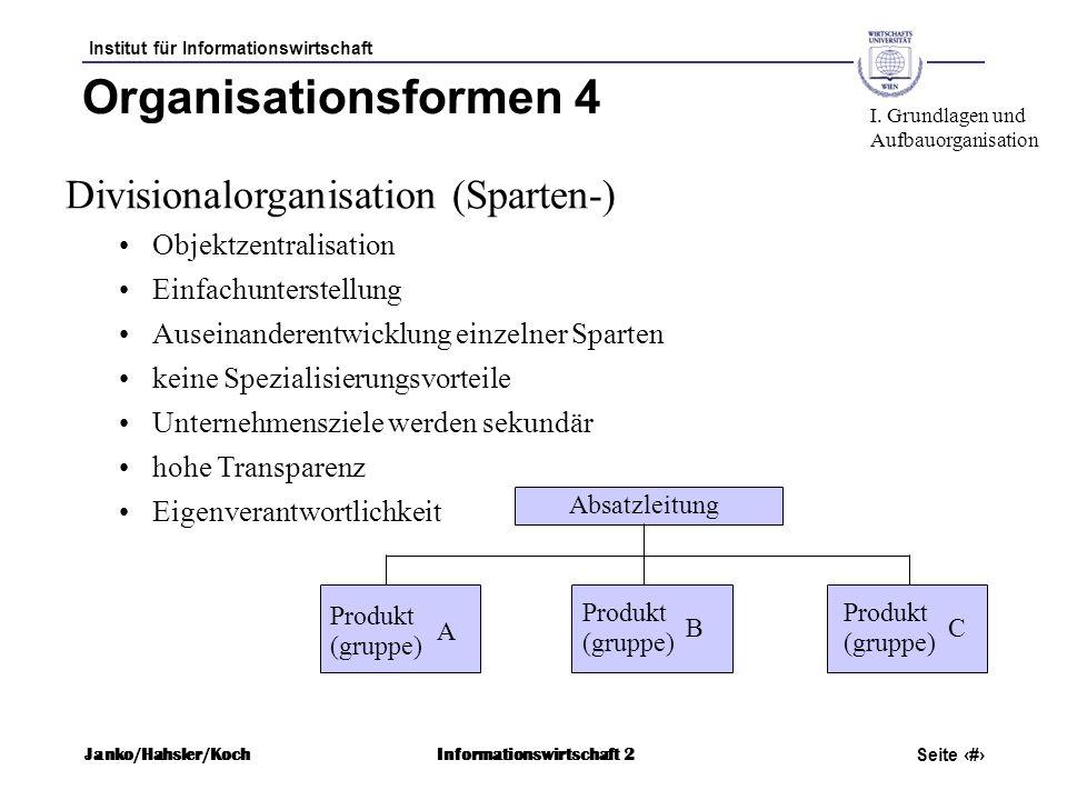 Organisationsformen 4 Divisionalorganisation (Sparten-)