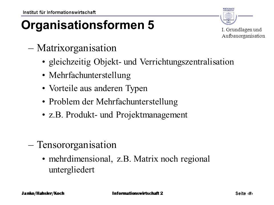 Organisationsformen 5 Matrixorganisation Tensororganisation