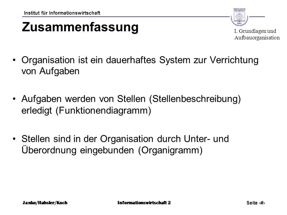 Zusammenfassung I. Grundlagen und. Aufbauorganisation. Organisation ist ein dauerhaftes System zur Verrichtung von Aufgaben.