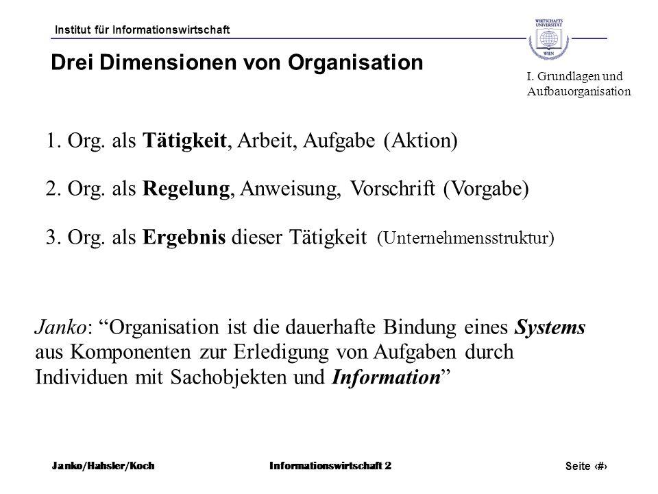 Drei Dimensionen von Organisation