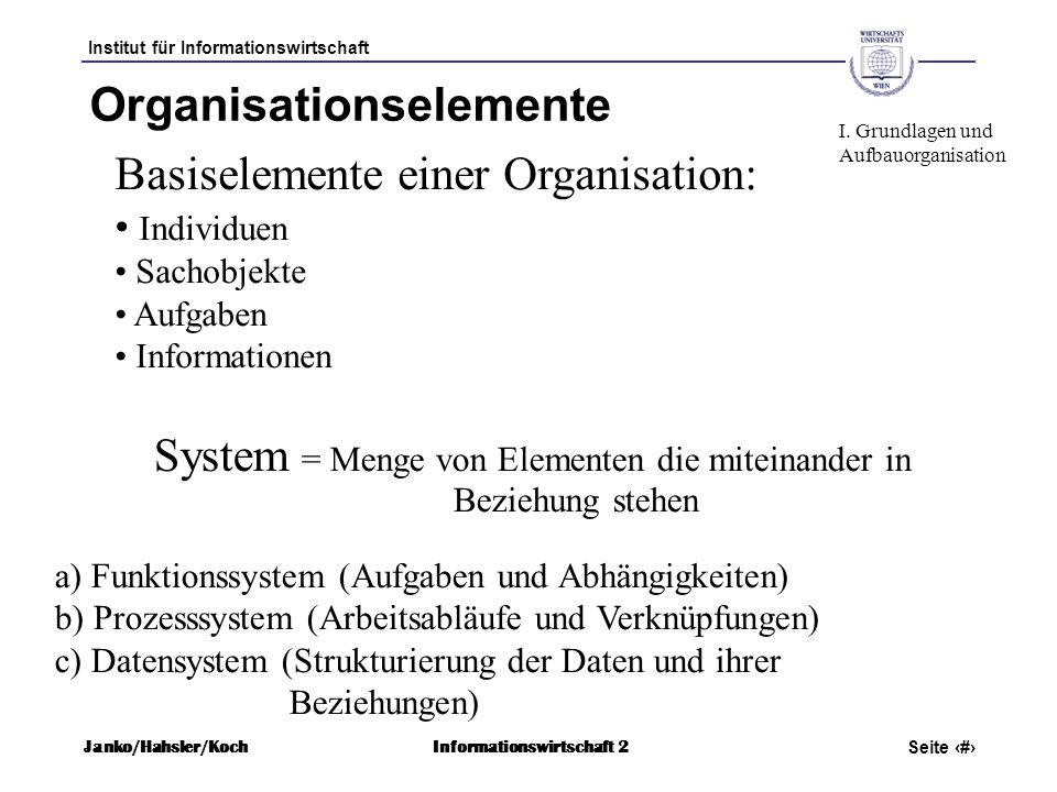 Organisationselemente