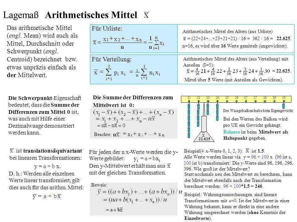 Lagemaß Arithmetisches Mittel