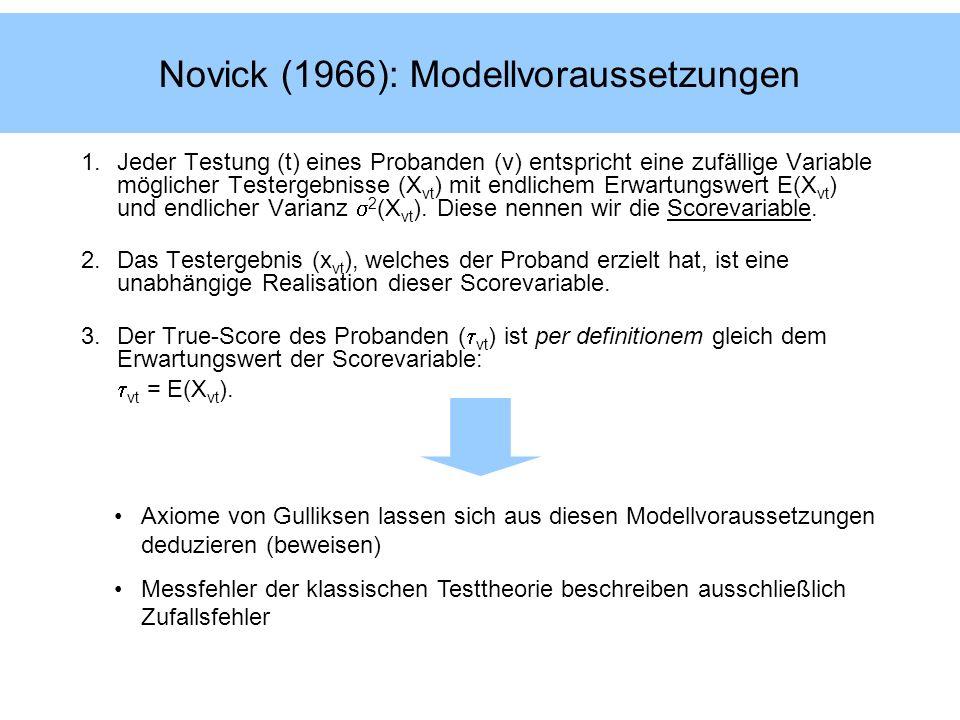 Novick (1966): Modellvoraussetzungen