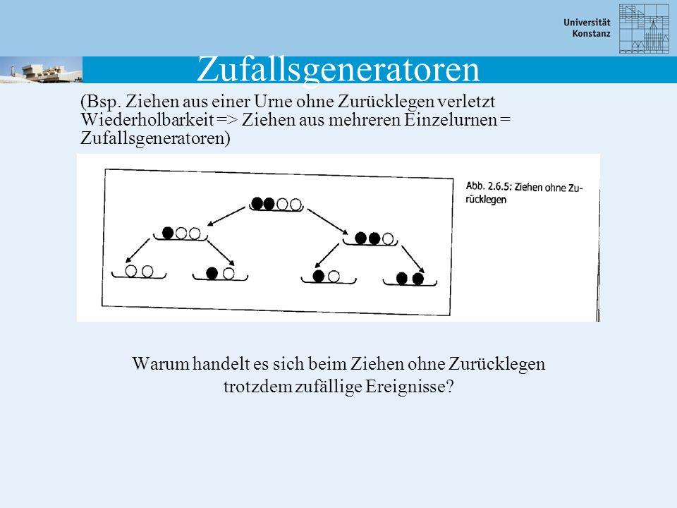 Zufallsgeneratoren (Bsp. Ziehen aus einer Urne ohne Zurücklegen verletzt Wiederholbarkeit => Ziehen aus mehreren Einzelurnen = Zufallsgeneratoren)