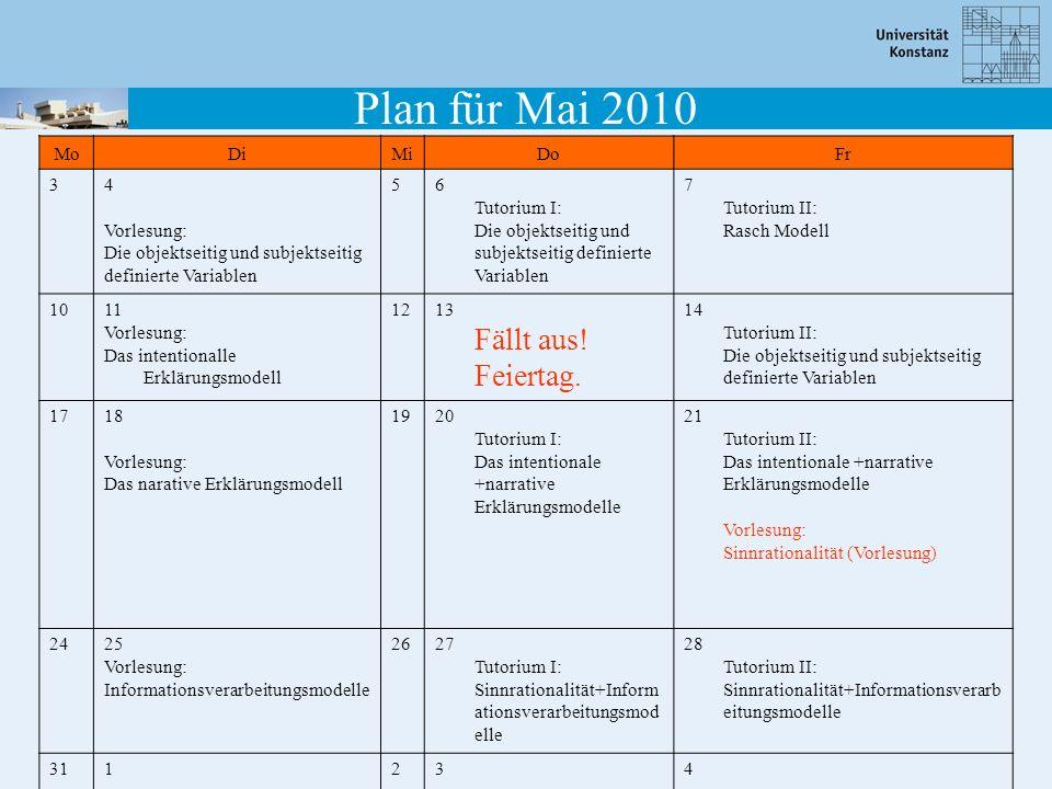 Plan für Mai 2010 Mo Di Mi Do Fr 3 4 Vorlesung: