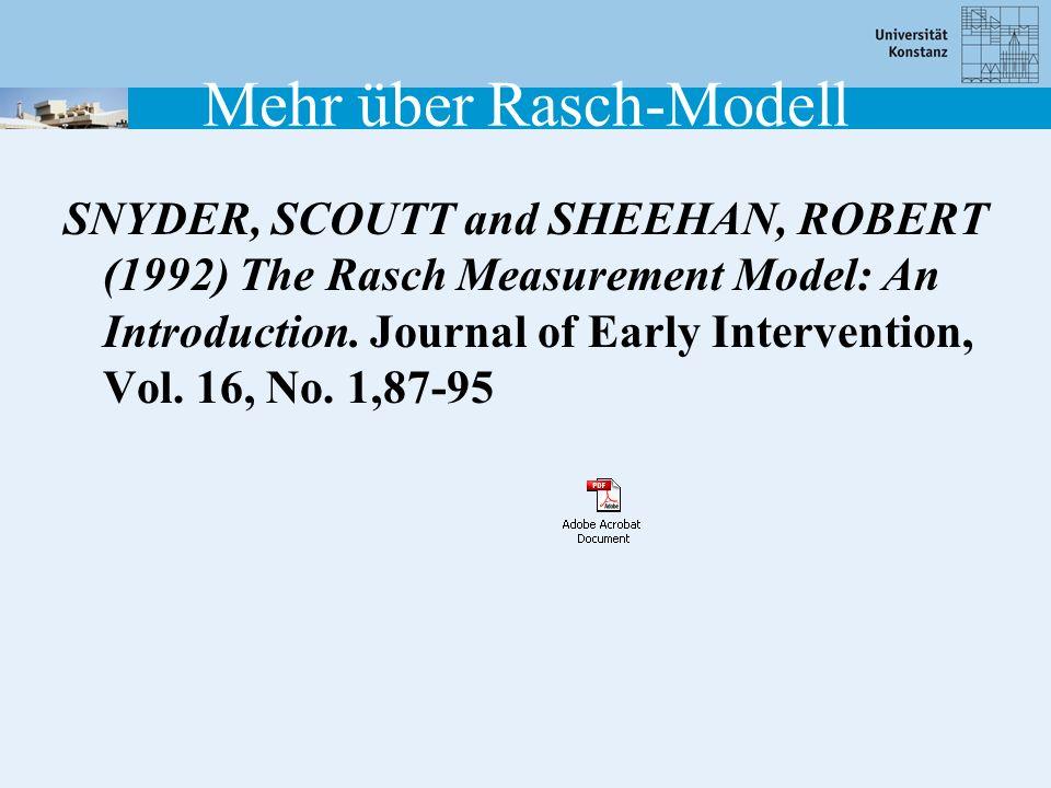 Mehr über Rasch-Modell