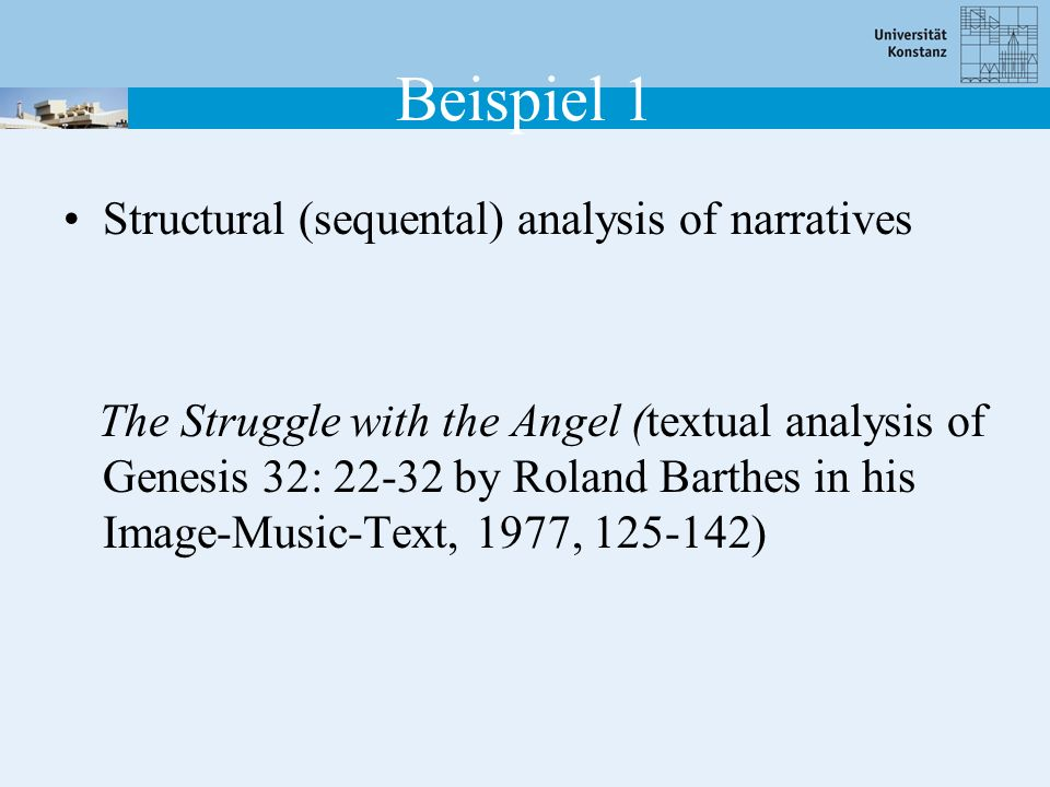 Beispiel 1 Structural (sequental) analysis of narratives