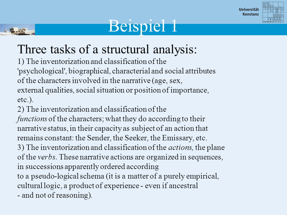 Beispiel 1 Three tasks of a structural analysis: