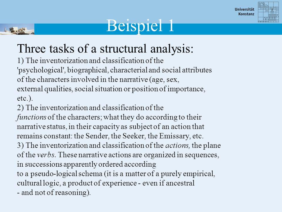 Beispiel 1 Three tasks of a structural analysis: