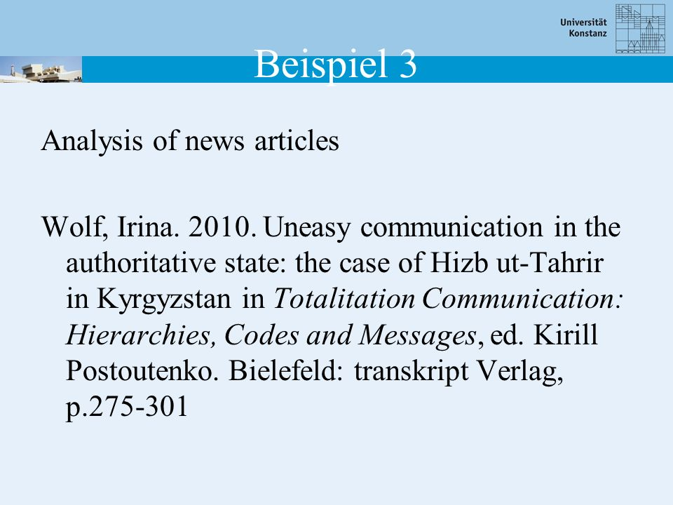 Beispiel 3 Analysis of news articles