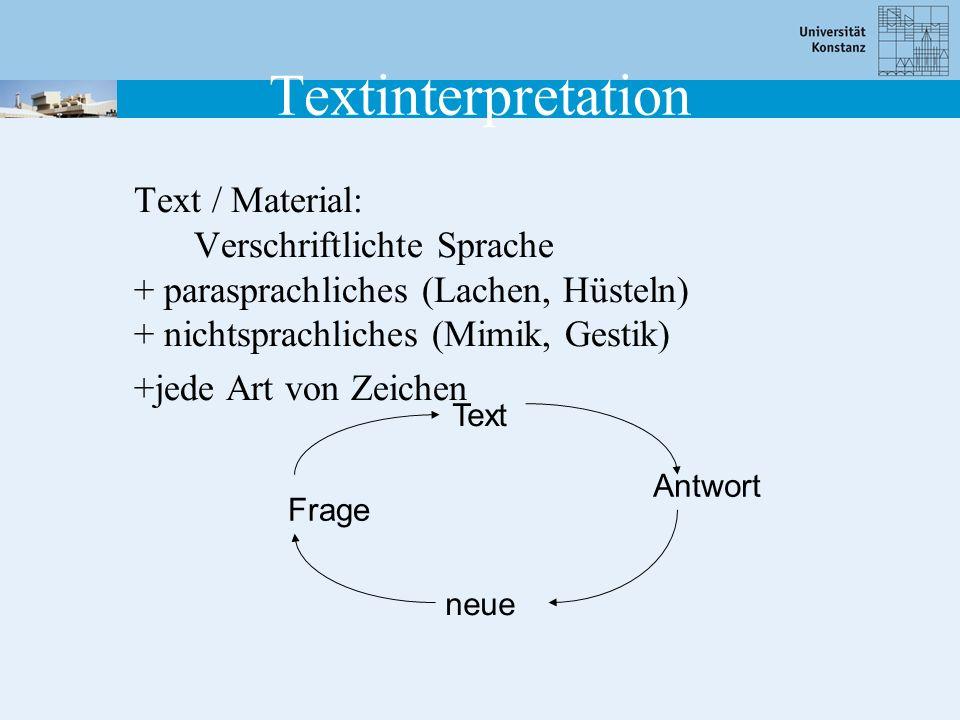 Textinterpretation Text / Material: Verschriftlichte Sprache + parasprachliches (Lachen, Hüsteln) + nichtsprachliches (Mimik, Gestik)