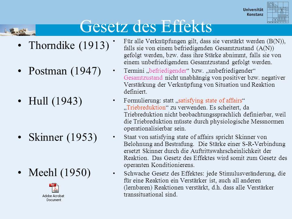 Gesetz des Effekts Thorndike (1913) Postman (1947) Hull (1943)