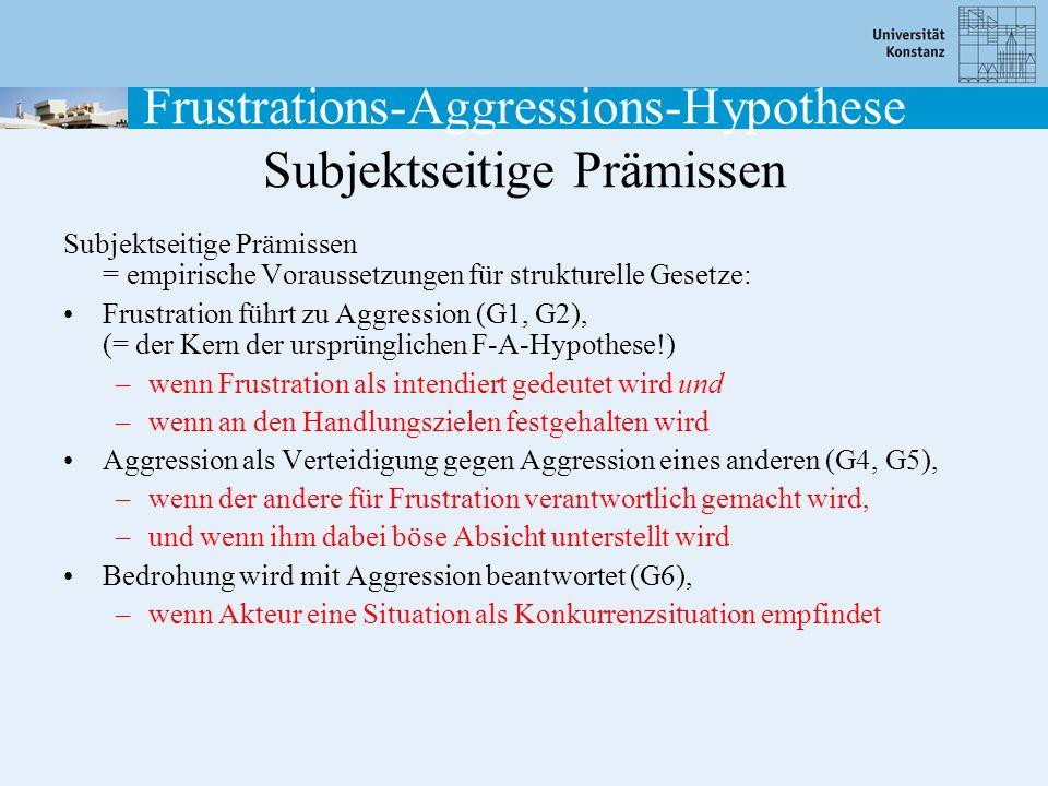 Frustrations-Aggressions-Hypothese Subjektseitige Prämissen