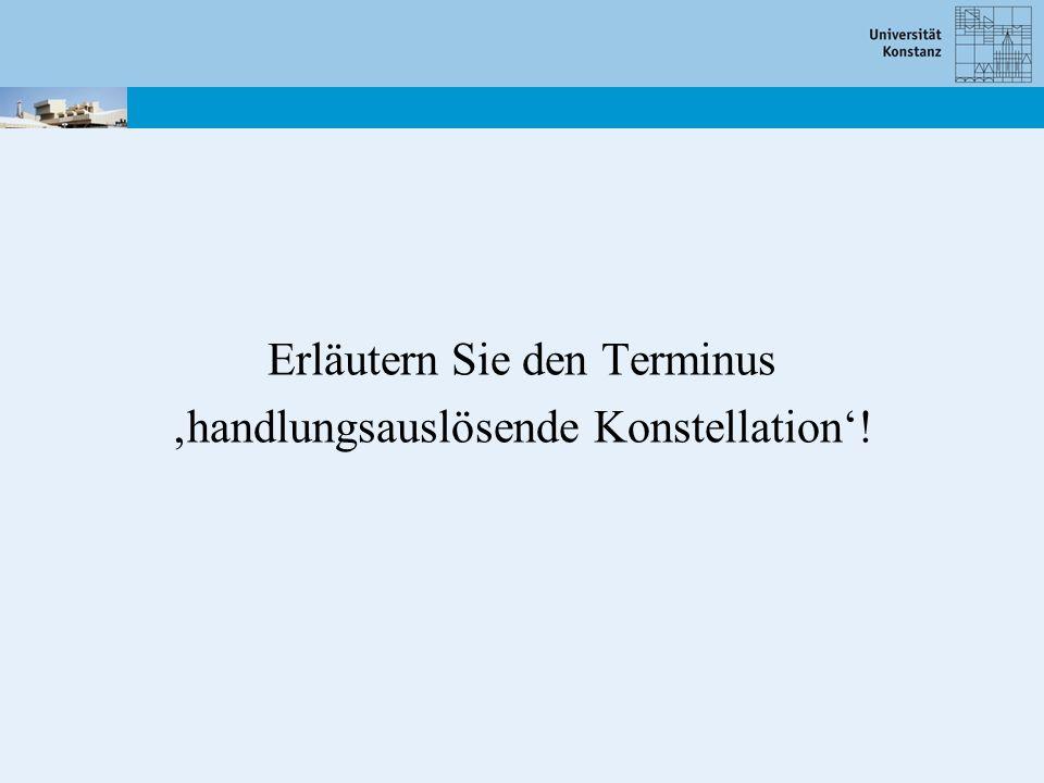 Erläutern Sie den Terminus 'handlungsauslösende Konstellation'!