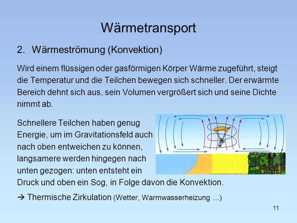 Wärmetransport 2. Wärmeströmung (Konvektion)