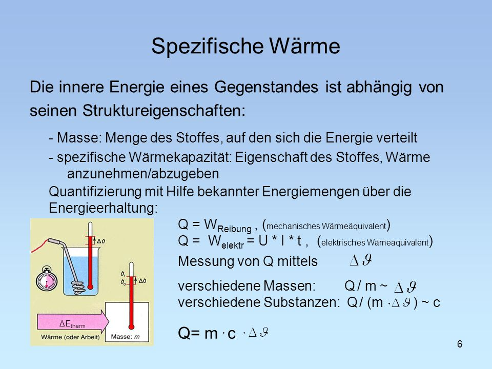 Spezifische WärmeDie innere Energie eines Gegenstandes ist abhängig von. seinen Struktureigenschaften: