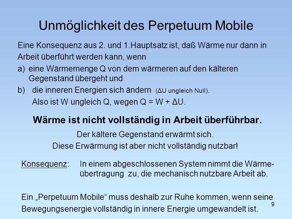 Unmöglichkeit des Perpetuum Mobile