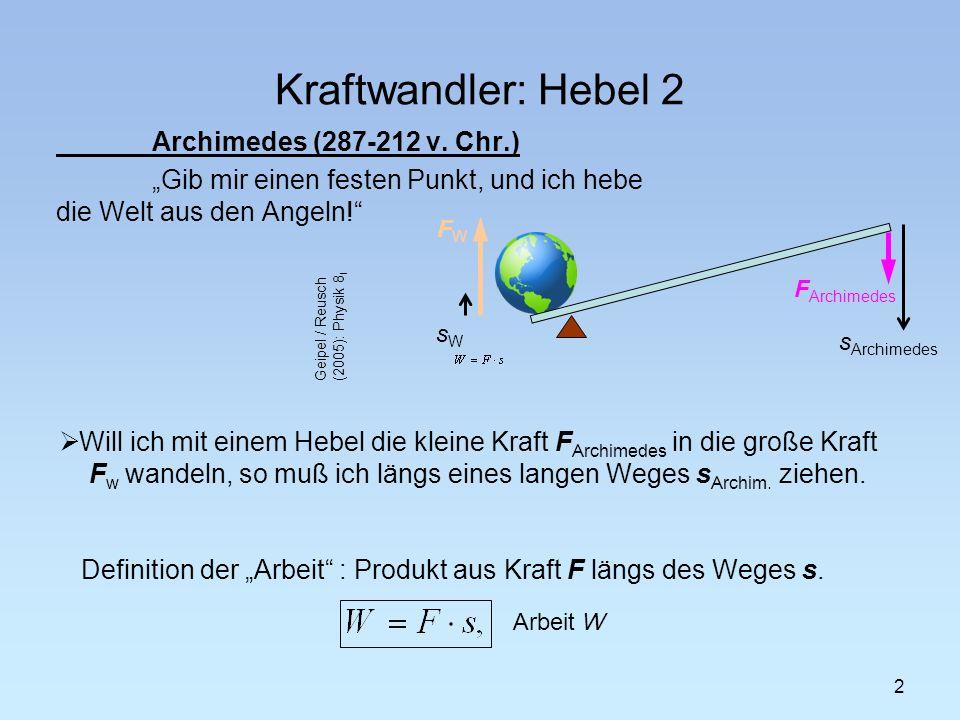 """Kraftwandler: Hebel 2 Archimedes (287-212 v. Chr.) """"Gib mir einen festen Punkt, und ich hebe die Welt aus den Angeln!"""