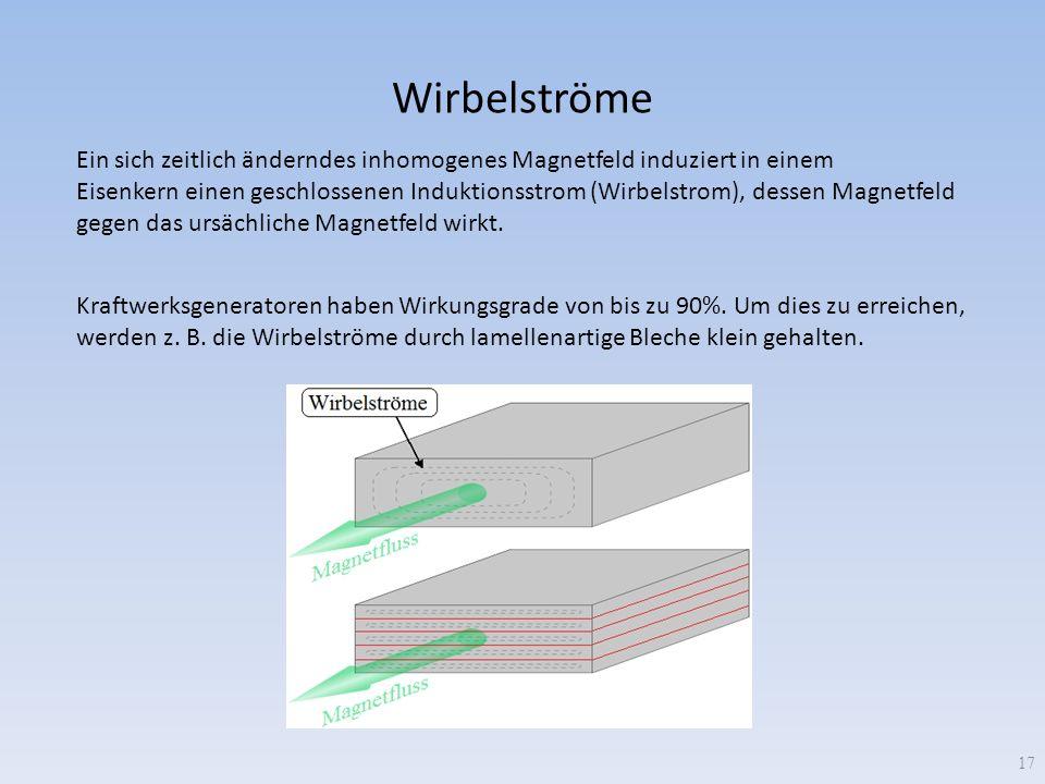 Wirbelströme Ein sich zeitlich änderndes inhomogenes Magnetfeld induziert in einem.