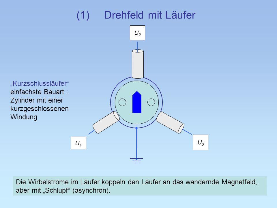 """(1) Drehfeld mit Läufer U2. """"Kurzschlussläufer einfachste Bauart : Zylinder mit einer kurzgeschlossenen Windung."""
