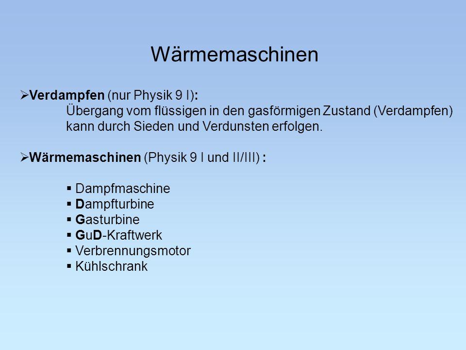Wärmemaschinen Verdampfen (nur Physik 9 I):