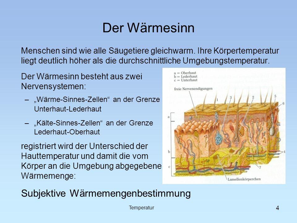 Der Wärmesinn Subjektive Wärmemengenbestimmung
