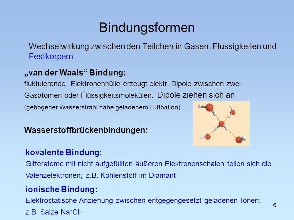 """Bindungsformen Wechselwirkung zwischen den Teilchen in Gasen, Flüssigkeiten und Festkörpern: """"van der Waals Bindung:"""