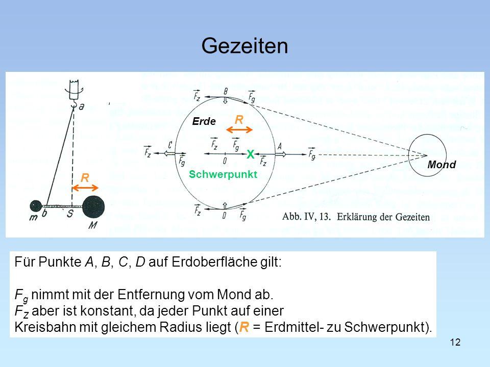 Gezeiten Für Punkte A, B, C, D auf Erdoberfläche gilt: