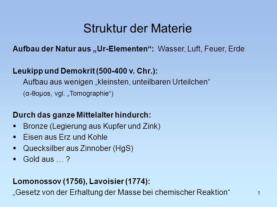 """Struktur der Materie Aufbau der Natur aus """"Ur-Elementen : Wasser, Luft, Feuer, Erde. Leukipp und Demokrit (500-400 v. Chr.):"""