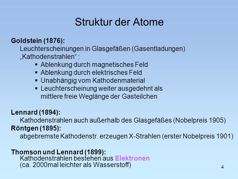 Struktur der Atome Goldstein (1876):
