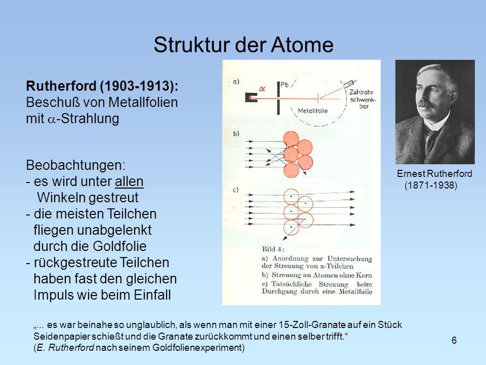 Struktur der Atome Rutherford (1903-1913): Beschuß von Metallfolien