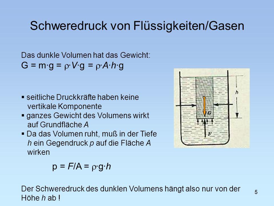Schweredruck von Flüssigkeiten/Gasen