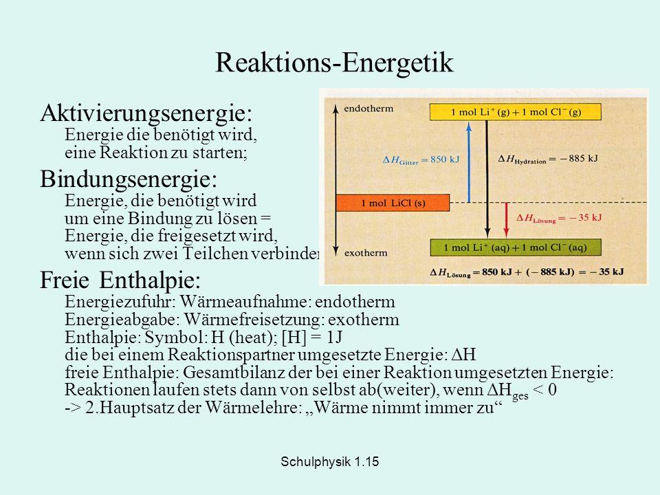 Reaktions-Energetik Aktivierungsenergie: Energie die benötigt wird, eine Reaktion zu starten;