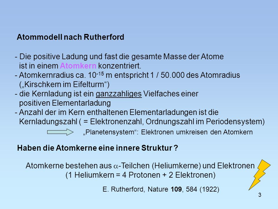 Atommodell nach Rutherford Haben die Atomkerne eine innere Struktur