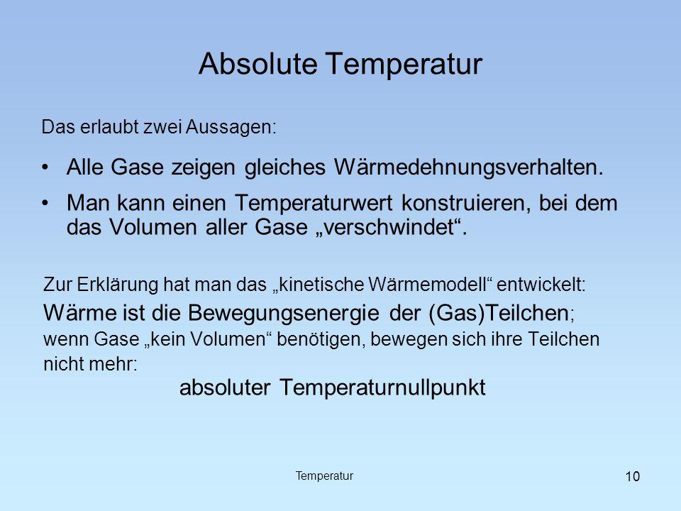 Absolute Temperatur Alle Gase zeigen gleiches Wärmedehnungsverhalten.