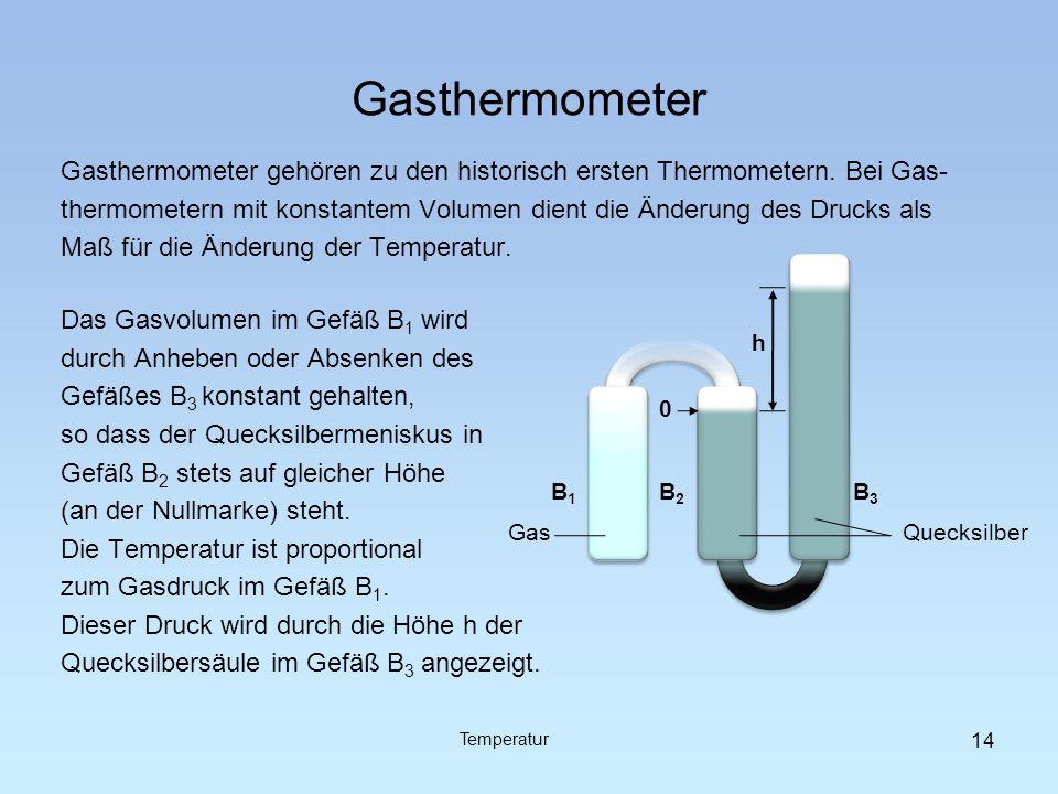 Gasthermometer Gasthermometer gehören zu den historisch ersten Thermometern. Bei Gas-