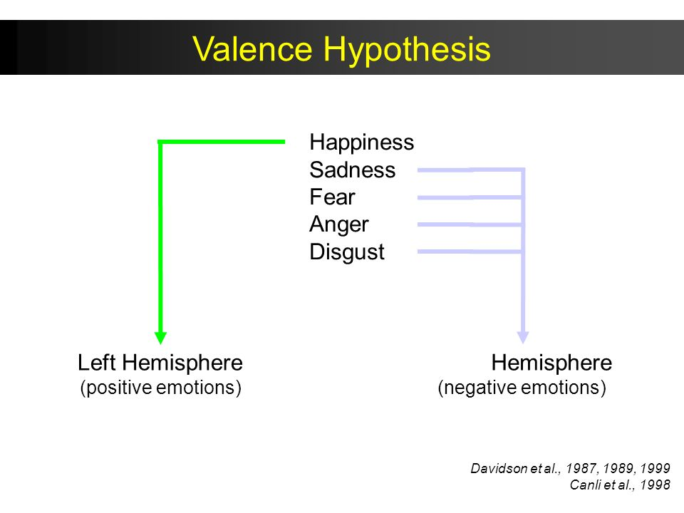 Valence Hypothesis Happiness Sadness Fear Anger Disgust