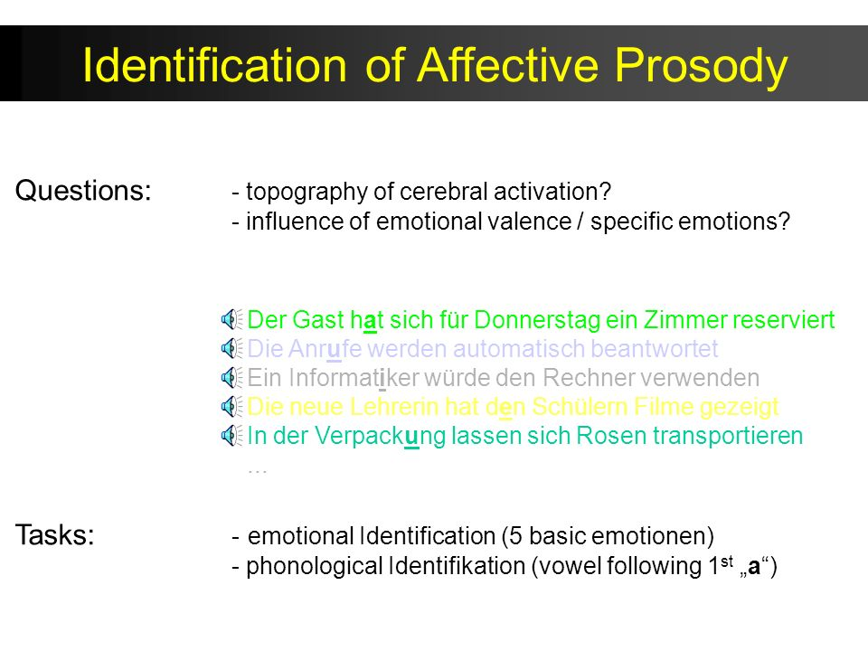 Identification of Affective Prosody