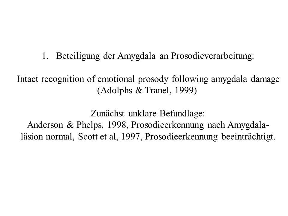 Beteiligung der Amygdala an Prosodieverarbeitung: