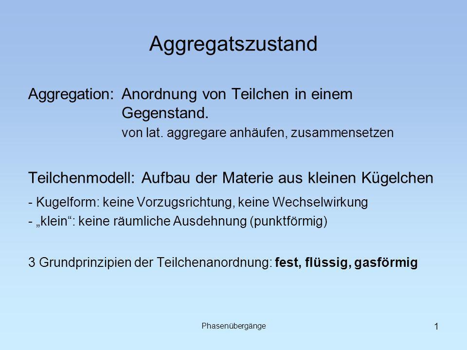 Aggregatszustand Aggregation: Anordnung von Teilchen in einem Gegenstand. von lat. aggregare anhäufen, zusammensetzen.