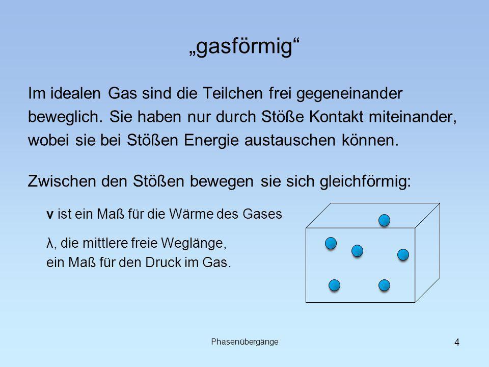 """""""gasförmig Im idealen Gas sind die Teilchen frei gegeneinander"""